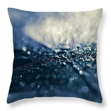 Throw Pillow featuring the photograph Peacock Macro Feather And Waterdrops by Sharon Mau