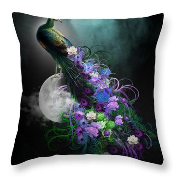 Peacock Of  Flowers Throw Pillow