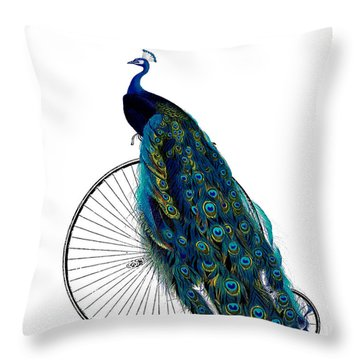Peacock On A Bicycle, Home Decor Throw Pillow