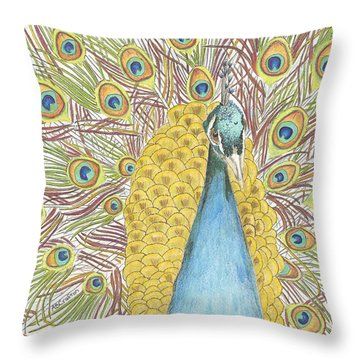 Throw Pillow featuring the drawing Peacock One by Arlene Crafton