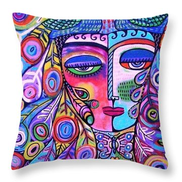 Peacock Pink Butterfly Goddess Throw Pillow