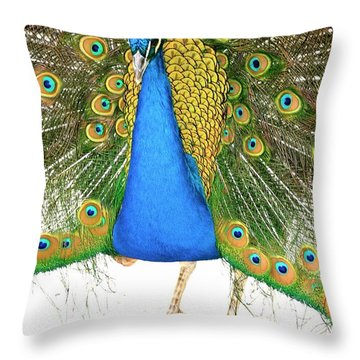 Peacock Presence Throw Pillow