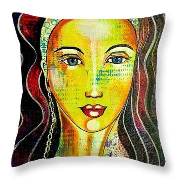 Peacock Princess Throw Pillow by Julie Hoyle