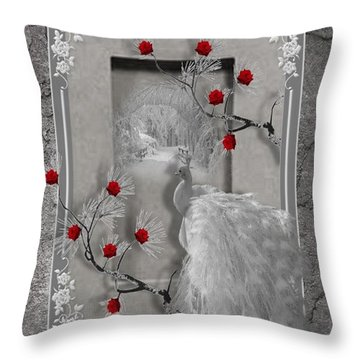 Peacock Purity Throw Pillow