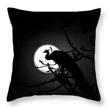 Peacock Roosting Against Full Moon. Throw Pillow