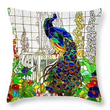 Peacock Stained Glass Throw Pillow