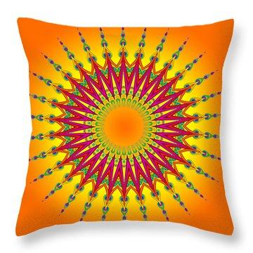 Peacock Sun Mandala Fractal Throw Pillow