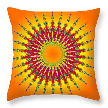 Peacock Sun Mandala Fractal Throw Pillow