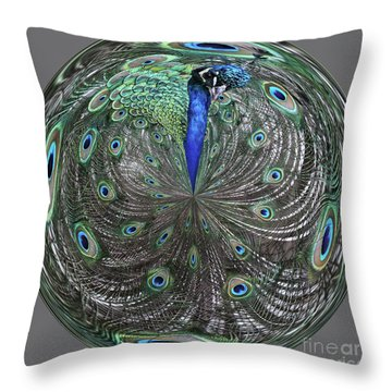 Peacock Swirl #2 Throw Pillow