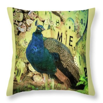 Peacock Time Throw Pillow