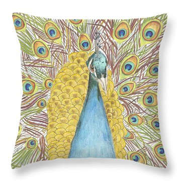 Throw Pillow featuring the drawing Peacock Two by Arlene Crafton