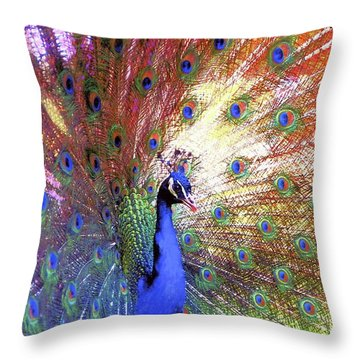 Peacock Wonder, Colorful Art Throw Pillow