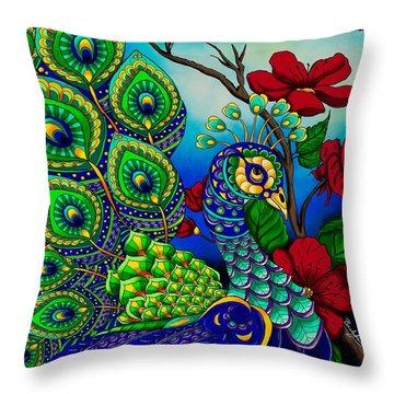 Peacock Zentangle Inspired Art Throw Pillow