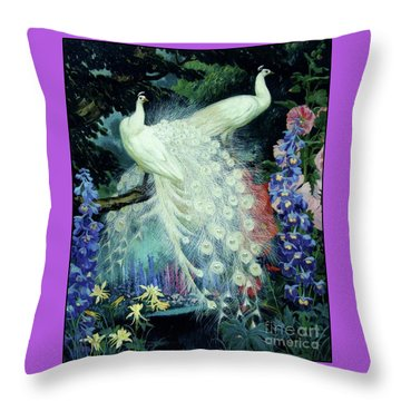 Peacocks And Hollyhocks Throw Pillow by Pg Reproductions