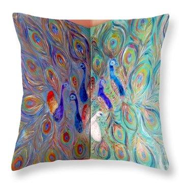 Peacocks Corner Throw Pillow by Vicky Tarcau