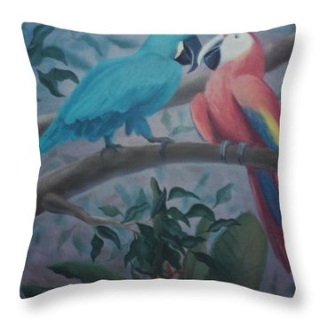 Peacocks In The Jungle Throw Pillow