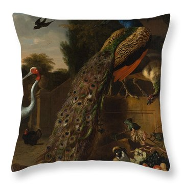 Throw Pillow featuring the painting Peacocks by Melchior d'Hondecoeter