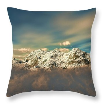 Throw Pillow featuring the sculpture Peak In The Clouds by Dave Luebbert