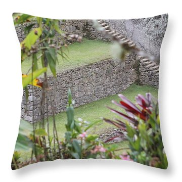 Peeking In At Machu Picchu Throw Pillow