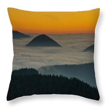 Peaks Above The Fog At Sunset Throw Pillow by Jeff Goulden