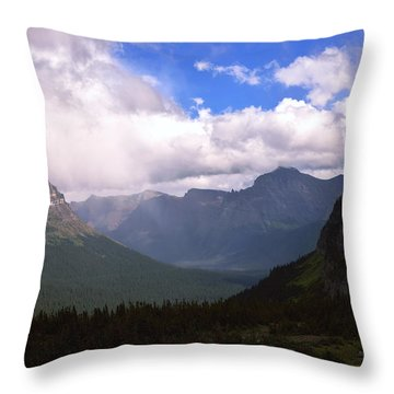 Peaks And Valleys Glacier National Park Throw Pillow