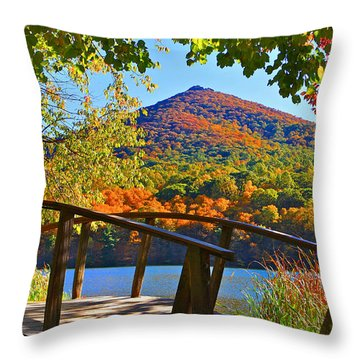Peaks Of Otter Bridge Throw Pillow