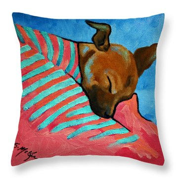 Throw Pillow featuring the painting Peanut by Suzanne McKee