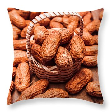 Peanuts In Tiny Basket In Close-up Throw Pillow