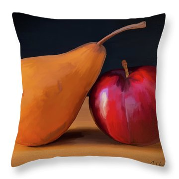 Pear And Plum 01 Throw Pillow by Wally Hampton