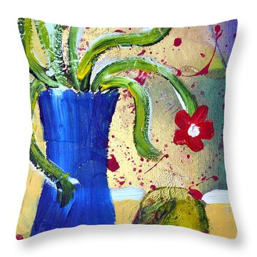 Pear And Red Flowers Throw Pillow