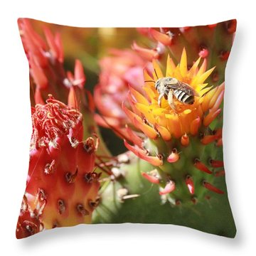 Pear Bee Throw Pillow