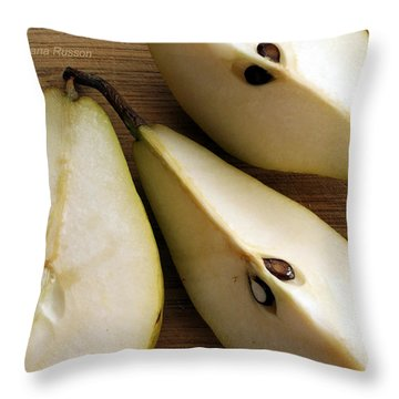 Throw Pillow featuring the digital art Pear Cut In Three by Jana Russon