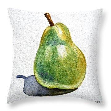 Pear Throw Pillow by Irina Sztukowski