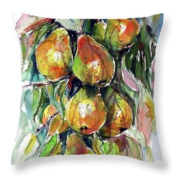 Throw Pillow featuring the painting Pear by Kovacs Anna Brigitta