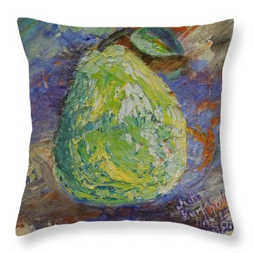 Pear On Lavender Throw Pillow by Judith Espinoza