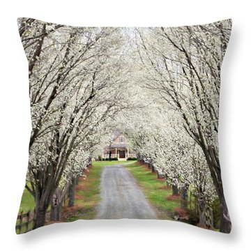 Throw Pillow featuring the photograph Pear Tree Lane by Benanne Stiens