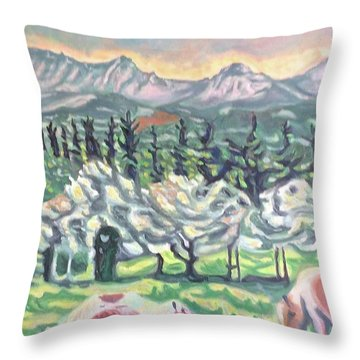 Pear Trees Throw Pillow