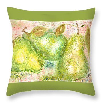 Throw Pillow featuring the painting Pear Trio by Paula Ayers