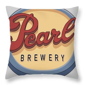 Pearl Brewery Sign Throw Pillow