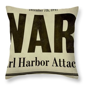 Pearl Harbor Attack Newspaper Headline Throw Pillow