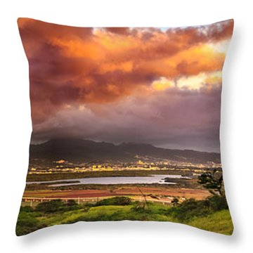 Pearl Harbor Sunset Throw Pillow