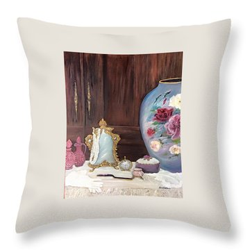 Pearls And Lace Throw Pillow