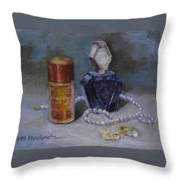 Pearls And Perfumes Throw Pillow by Margaret Hodgson