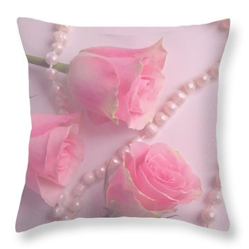 Pearls And Roses Throw Pillow