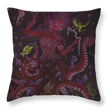 Throw Pillow featuring the drawing Pearls by Dawn Fairies