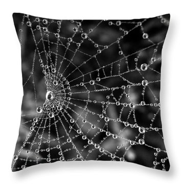 Pearls In Black And White Throw Pillow by Misha Bean