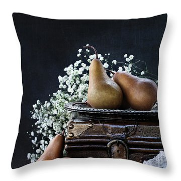 Throw Pillow featuring the photograph Pears And Baby's Breath by Stephanie Frey