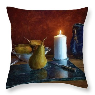 Throw Pillow featuring the photograph Pears By Candlelight by Mark Fuller