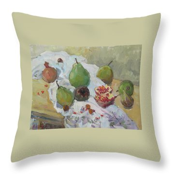 Pears Figs And Young Pomegranates Throw Pillow