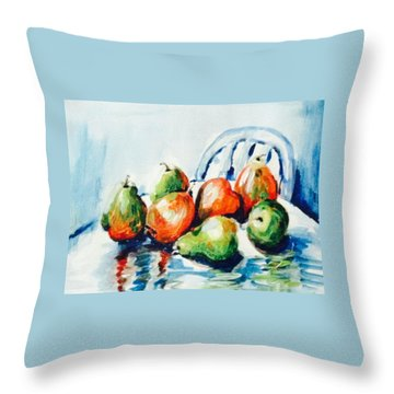 Pears On The Table Throw Pillow by Hae Kim